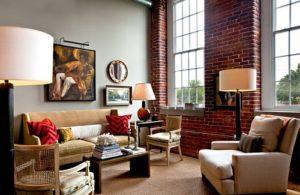 Gợi Ý Cách Thiết Kế Phòng Khách Vintage Với Tường Gạch Mộc